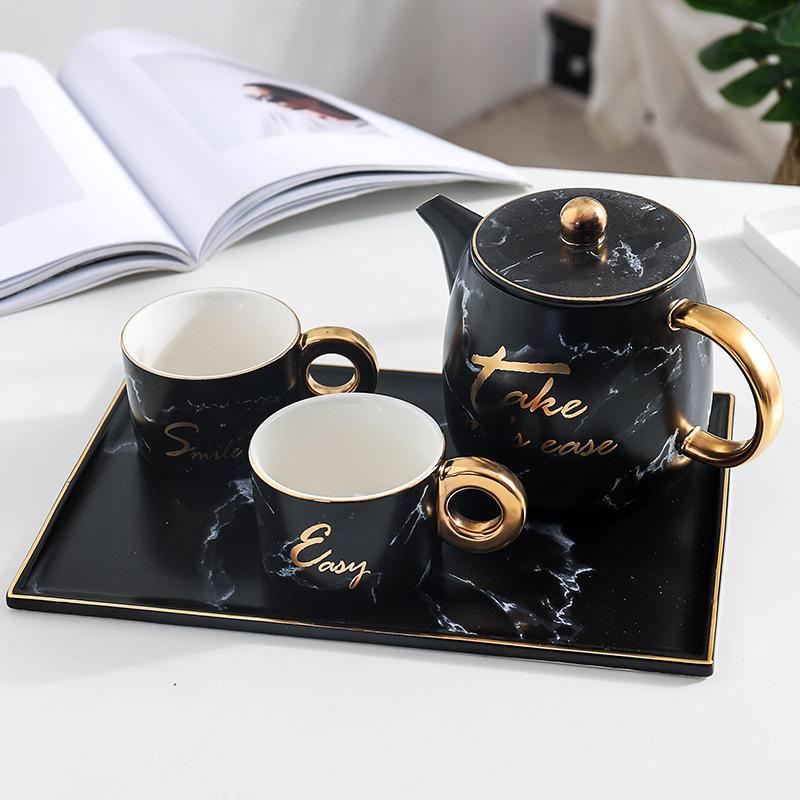 900ml Keramik Teekessel Kaffeekanne Marmor zwei Stücke 180ml Tassen Becher mit Tee-Tablett Tee-Set Geschenk
