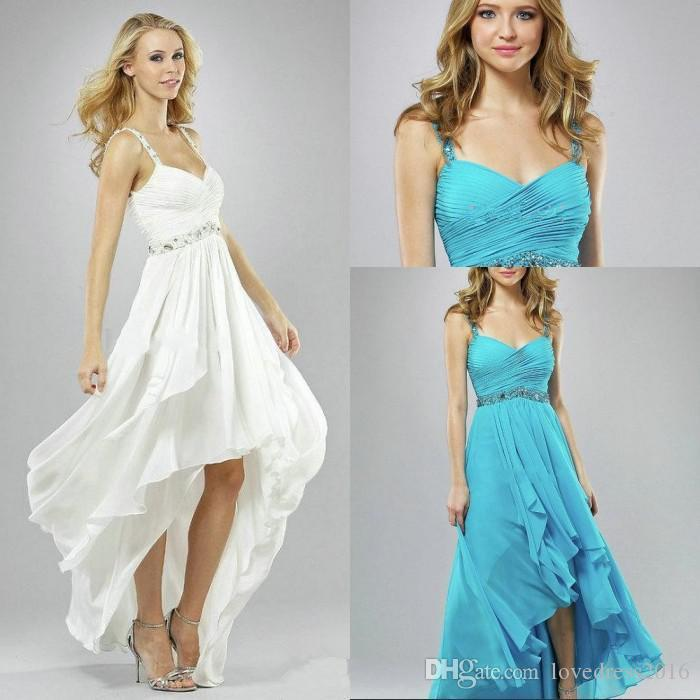 2019 High Low Ruched Chiffon Prom Dresses with Beaded Spaghetti Straps Maid of Honor Dress for Bride Party