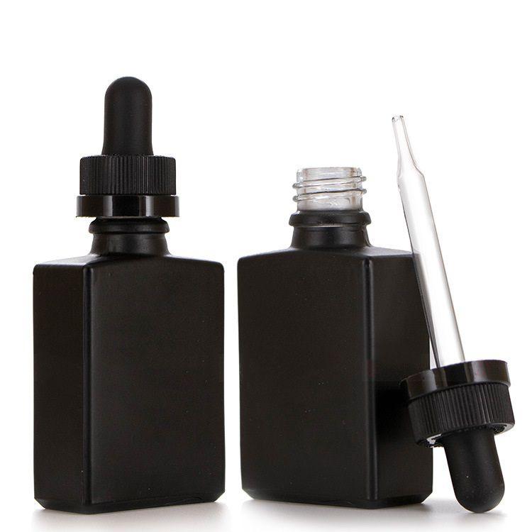 30 ملليلتر الأسود بلوري زجاج السائل الكاشف ماصة زجاجات القطارة مربع الضروري النفط زجاجة عطر زجاجات دخان النفط السائل