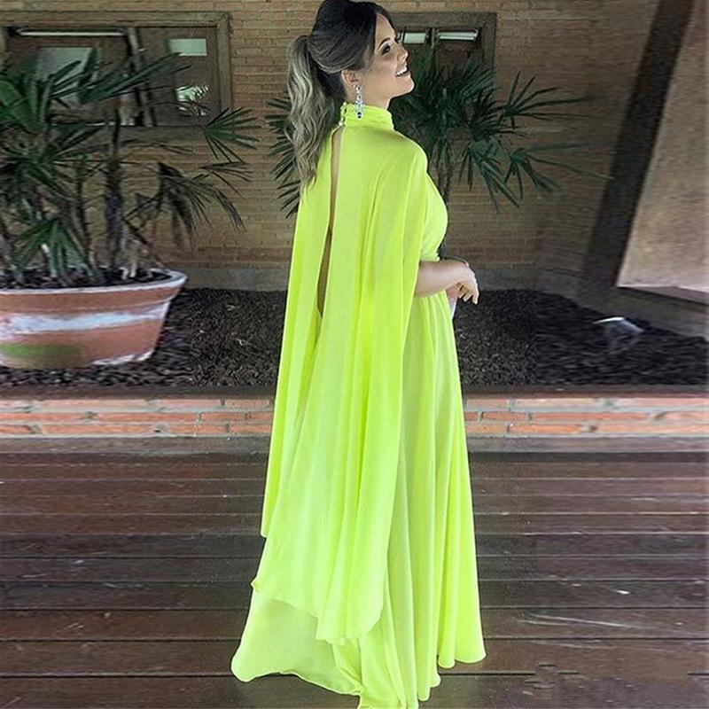 Cheap Chiffon 2019 Alta Pescoço Vestidos de Noite Com Cabo Uma Linha Custom Made Vestidos de Festa Árabe Prom Vestidos de Celebridade B94