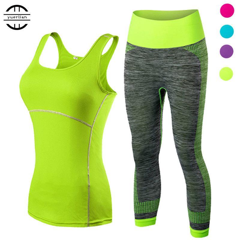 yuerlian Damen Sport-laufende geerntete Top 3/4 Leggings Yoga Gym Trainning Set Kleidung Workout Fitness Frauen Yoga Anzug Y200328