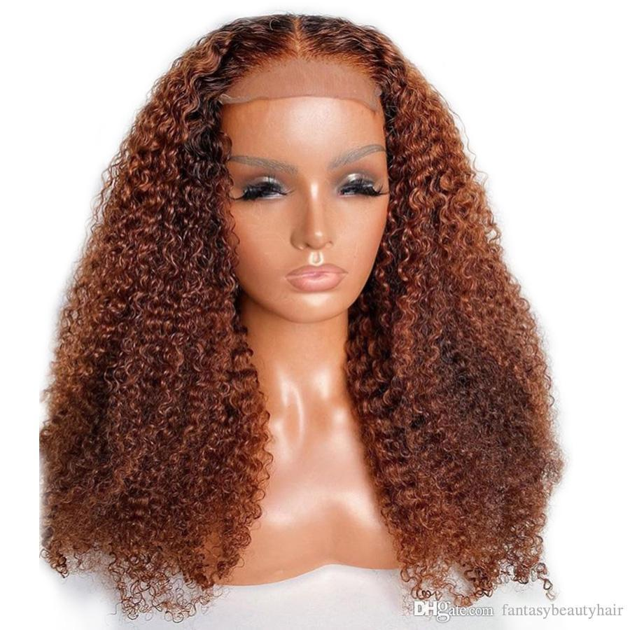 #33 Peruvian Kinky Curly Full Lace Human Hair Wigs with Bleached Knots 13x6 Lace Front Wigs for Women 360 Lace Frontal Wig