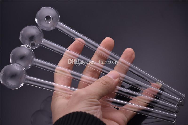 Yüksek kalite Lengthen 20 cm Uzun 30mm topu temizle yağ Brülör borusu cam tüp Pyrex cam yağ yakıcı boru sigara borular için