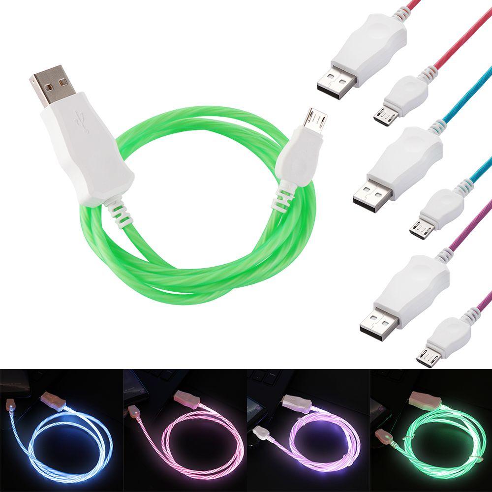 مايكرو USB نوع C LED مضيئة كابل الشحن شاحن الهاتف المحمول تتدفق كابيل لهواوي الشرف ملاحظة 10 Xiaomi Mi 8 ماكس 3 HTC