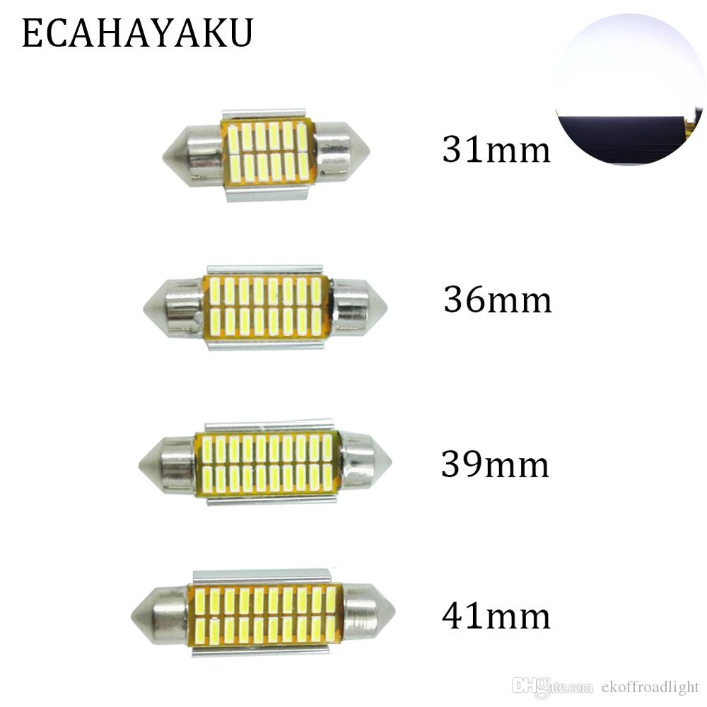 ECAHAYAKU 2x 31mm 36mm 39mm 42mm C5W C10W Súper brillante 4014 SMD Coche LED Festoon Light Canbus Error Interior libre Doom Bombilla de la lámpara
