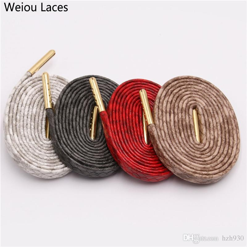Weiou 7mm Flat Snake Skin Shoelaces White Red Grey Brown Luxury Leather Shoe Laces With Gold Metal Aglets For Sneakers Sports