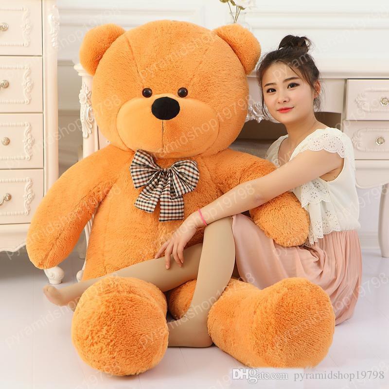 100 coton coton géant brun clair 100cm mignon ours en peluche énorme jouet doux