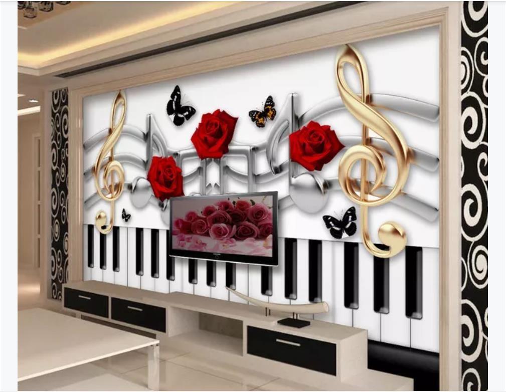 Carta da parati fotografica su misura 3D materiale di seta murale Moda musica tema rosa farfalla TV divano sfondo murale carta da parati per pareti 3d