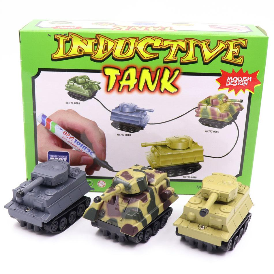 New Engineering Vehicles Truck MINI Magic Pen Inductive Childrens Truck Tank Toy Car Draw Lines Induction rail Track Car