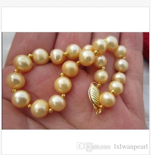 9-10mm NATURAL DE ORO DEL SUR MAR brazalete de perlas de 7,5-8 14K