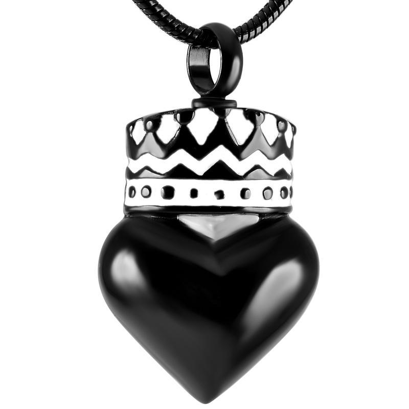 Couleur Argent noir Couronne coeur Ashes Urn Collier Crémation bijoux Pendentif inoxydable en acier Keepsake Collier pour les femmes