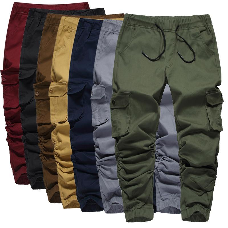 multi-bolsillo del estilo del algodón pantalones de camuflaje táctico de otoño la moda los pantalones deportivos deportes ocasionales flojos de caballero