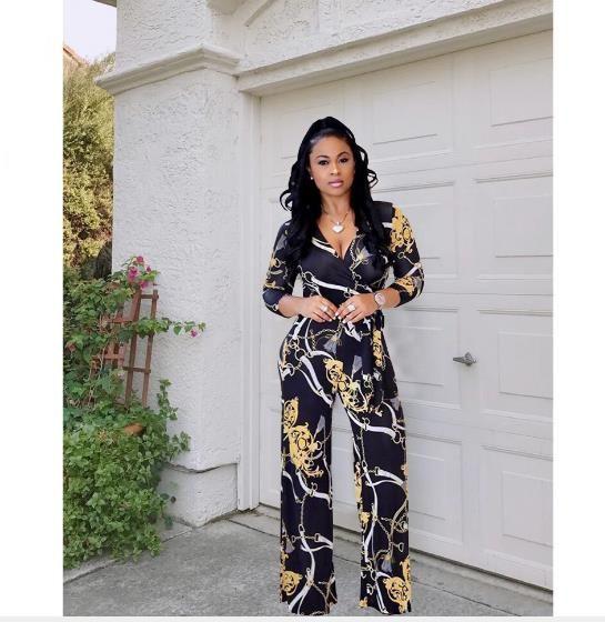 Jumpsuit ancho de la pierna ancha del vestido africano de la impresión del estilo del vestido africano 2019