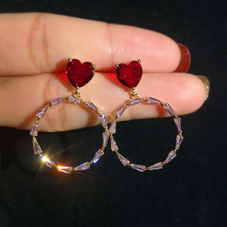 Fashion Heart Earrings For Women 2019 New Brand Jewelry Stud Earring S925 Needle Circle Crystal Dangle Earings Rings