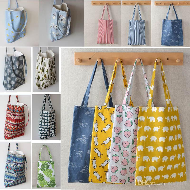 Bolso de hombro impreso diseñador bolsa de compras reutilizable bolsas de comestibles de gran capacidad de algodón de algodón bolsas de playa mujeres hh9-2097