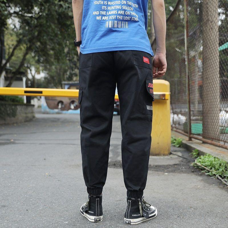 2020 pantaloni larghi tempo libero degli uomini s' Lettera di modo di Applique laterale Harem uomini pantaloni jogging uomo elastico in vita Pantaloni felpa Pantalone lungo