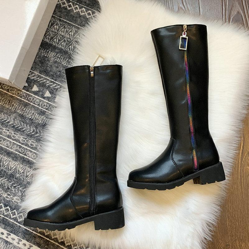 Größe 35-40 2019 New Knee High Reitstiefel Frauen-Winter-Regenbogen-Reißverschluss-Schuh-Frauen-Med Heels quadratisches Metall Regen Stiefel