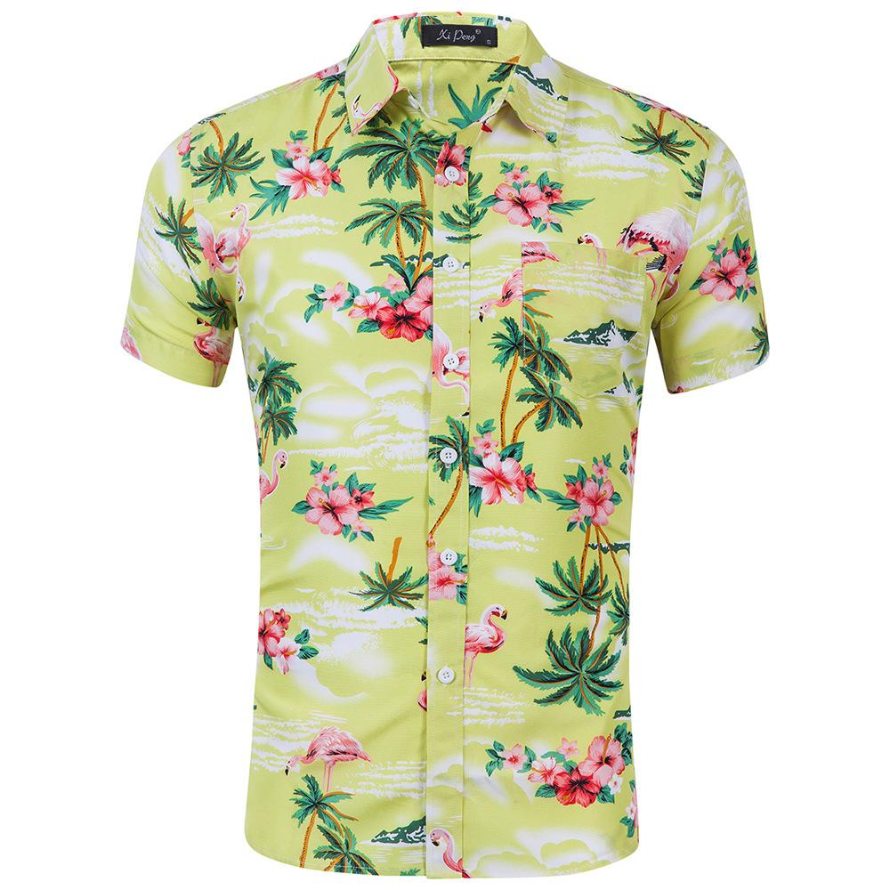 Loral Baskılı Erkek Yaz Modası Kısa Kollu Slim Fit Casual Erkekler Rasgele Gömlek Plus Size S-2XL