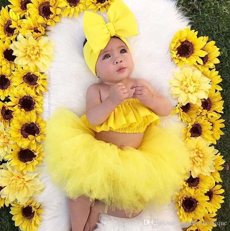 Kids Clothing Newborn Baby Girls Clothes Sets Fashion Infant Summer Outfits Bowknot Hairbands+Tops+Skirts 3pcs Sets Toddler Cotton Clothes