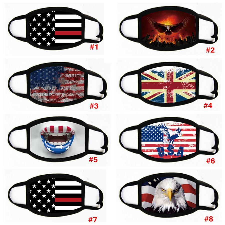 Trump Amérique du visage Masque Cartoon Imprimé réutilisable USA drapeau imprimé léopard 3D anti-poussière lavable bouche extérieure couverture Masques Designer LJJA4108