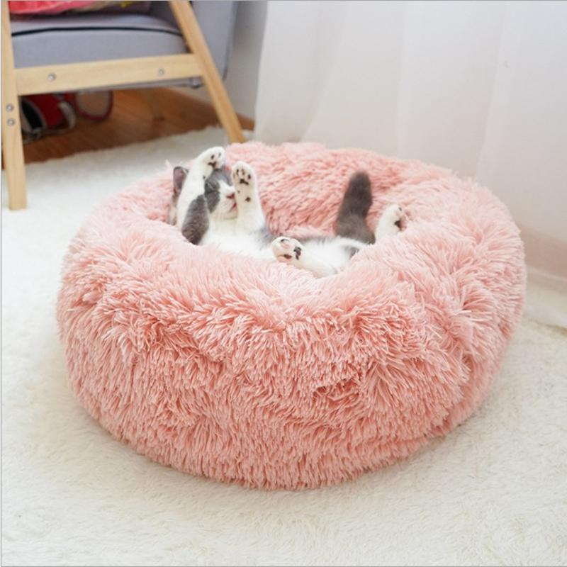 Мягкая плюшевая круглая кровать, коврик, зимний теплый матрас, кошка и дышащий диван, домашняя собака спальный коврик Y200330