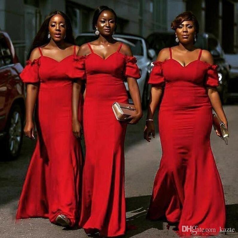 Abiti da damigella d'onore sirena rossa sirena africana estate cinghie di spaghetti della boemia festa nuziale abiti da sera plus size economici