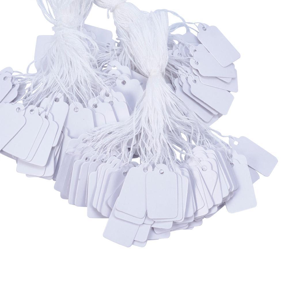 500pcs Takı String Kordon Fiyat Etiketleri Dikdörtgen Beyaz Boş Etiket takı Ekran Kartı Karton Ambalaj Karton Etiket Kart 23x13mm