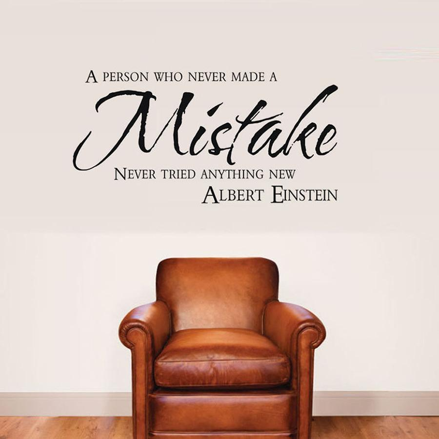 Escritório Decal Motivation Quotes Quote Wall Sticker Albert Einstein Inspiring pessoa fez Mistake Decalques Bedroom Decor