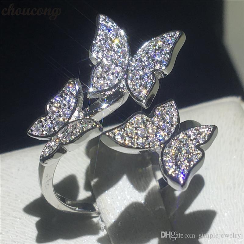 Choucong فراشة البنصر 925 الفضة الاسترليني تمهيد وضع الماس enagagement خواتم الزفاف الفرقة للنساء مجوهرات
