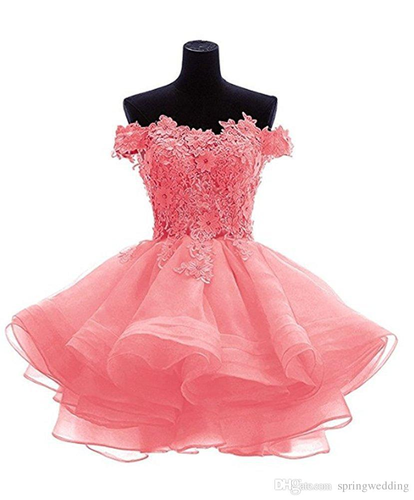2019 Cheap Organza Homecoming Dresses Lace Appliques Beaded Crystals Short Prom Graduation Gown Cocktail Party Gowns