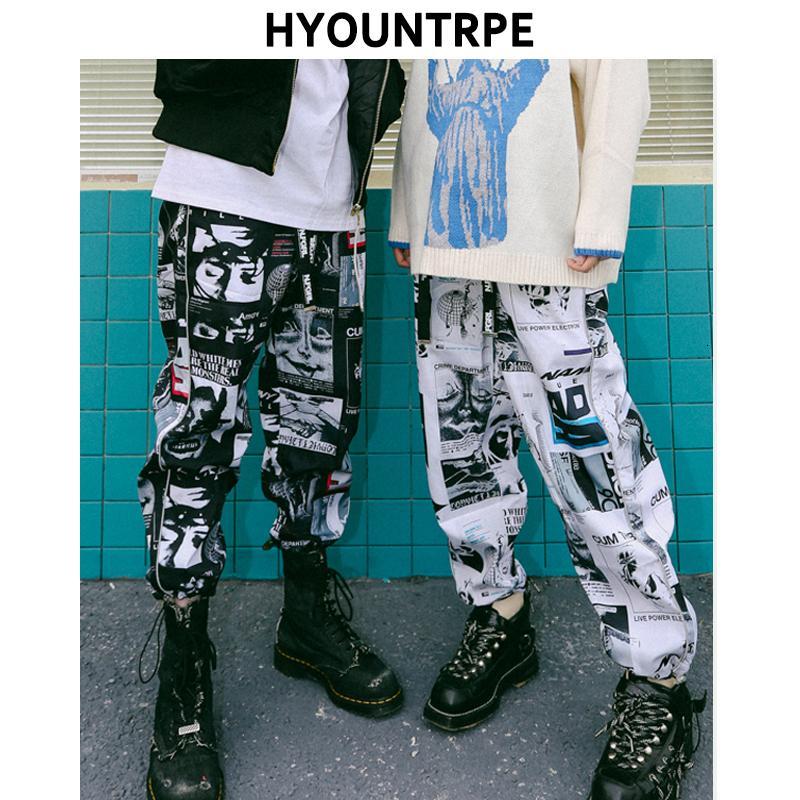 Imprimé graphique High Street Fashion piste Pantalons Pantalons Hommes Femmes 2018 Casual New Drawstring taille élastique Joggers Sweatpants CJ191201