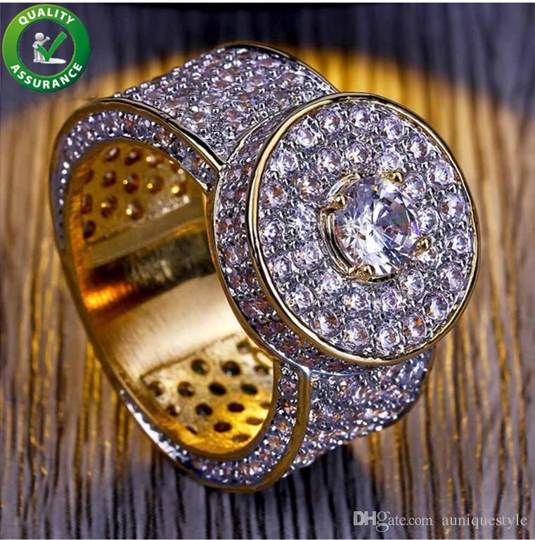 Хип-хоп ювелирные изделия мужские золотые кольца роскошный дизайнер Iced Out CZ бриллиантовое кольцо Bling Band мизинец палец кольцо для мужчин обручальные свадебные аксессуары
