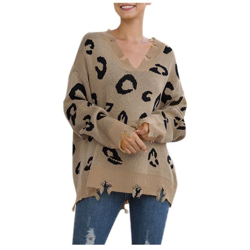 V-cuello de las mujeres Sweaterspull Navidad femme nouveaute 2020 del estampado leopardo de árbol tejer suéter de manga larga Nueva jersey suelto