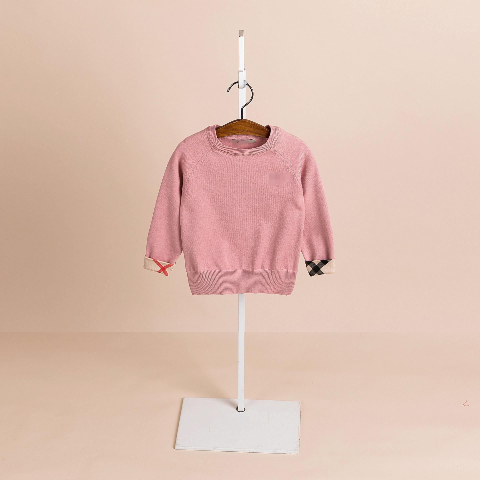 2019 التجارة الخارجية الجديدة سترة ملابس الأطفال الأكمام طويلة منقوشة البلوزات للأطفال الصلبة الفتيان والفتيات اللون الكشمير سترة