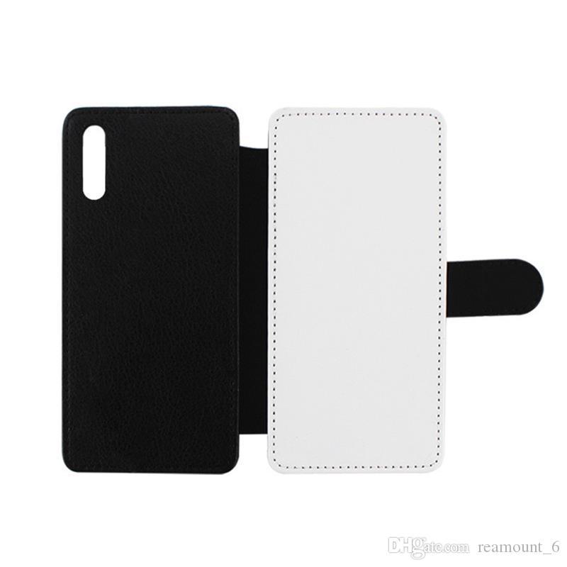 30pcs para Samsung S8 Plus sublimación la caja del cuero blanco del logotipo Cuero impreso cubierta con espacio para tarjeta