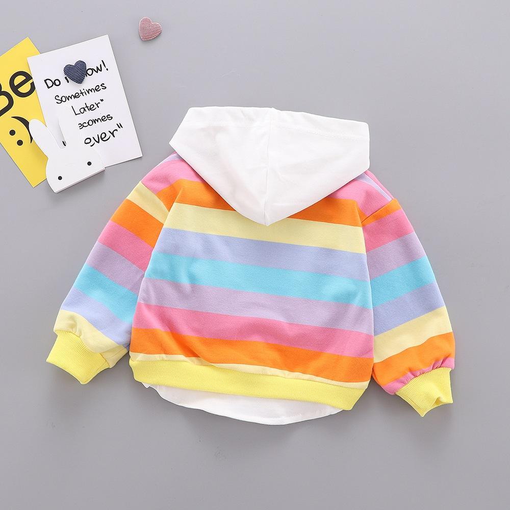 Autunno Felpe per ragazzi ragazze arcobaleno a righe bambino dei capretti neonati dell'orecchio di coniglio con cappuccio manica lunga felpata Top Outwear WT717