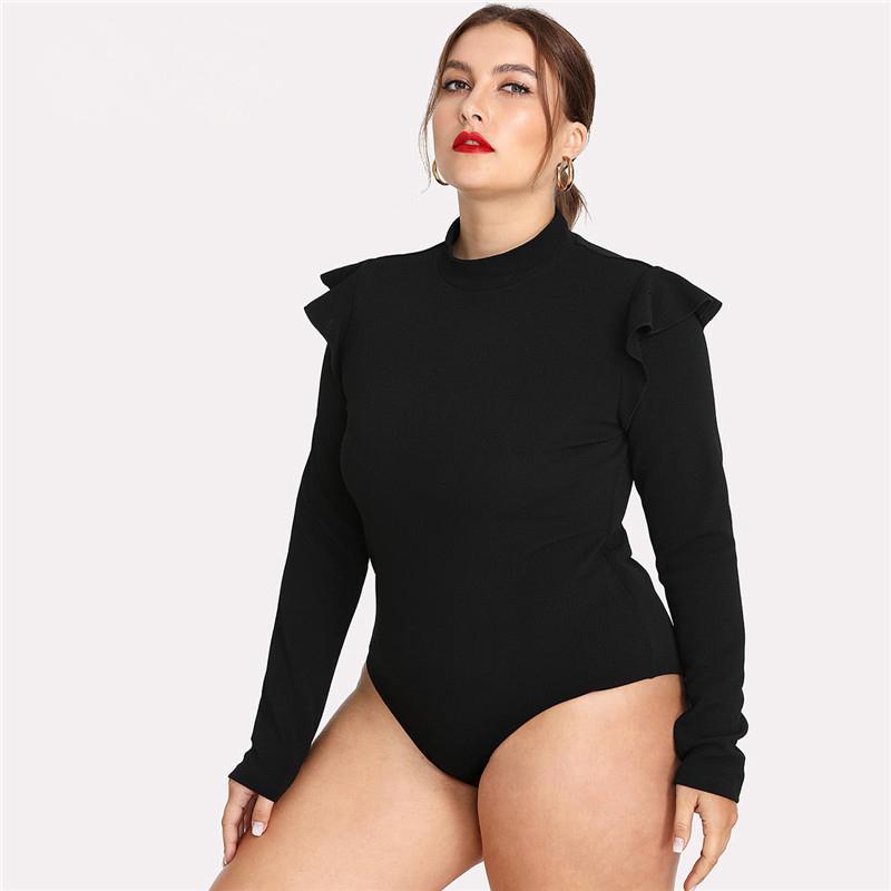 Más el tamaño del mono del tamaño extra grande Negro embellecido volante del hombro de manga larga Mujer Slim Fit Body Señora Otoño Invierno Solid Body