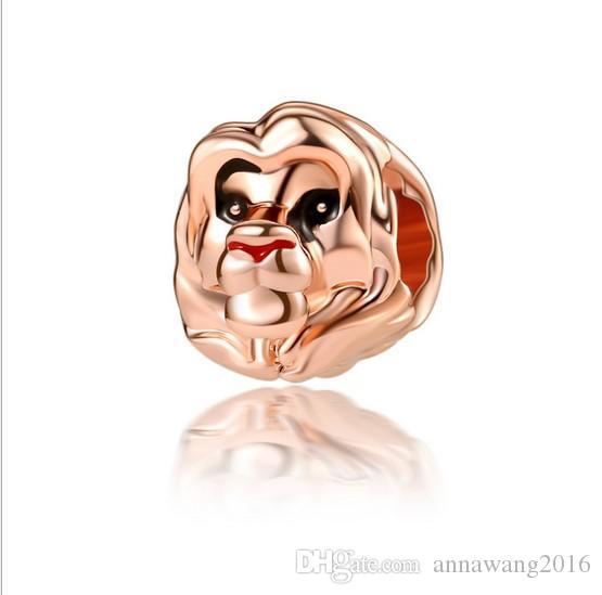 Pandora Bilezikler Uyar 30 adet Gül Altın Aslan Kral Kafa Gümüş Charm Boncuk Charms Toptan DIY Avrupa Kolye Yılan Zincir Bilezik
