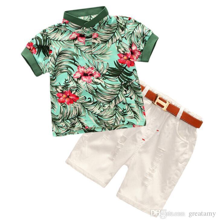 3pcs/lot INS Baby boys suit short floral top+denim pants+belt summer fashion boutique kids clothing set