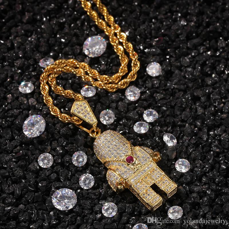 Желтый Белый позолоченный Высокое качество Micro Set CZ Robot Подвеска Ожерелье Мужчины Женщины Hot Hip Hop DJ ожерелье подарок ювелирных изделий