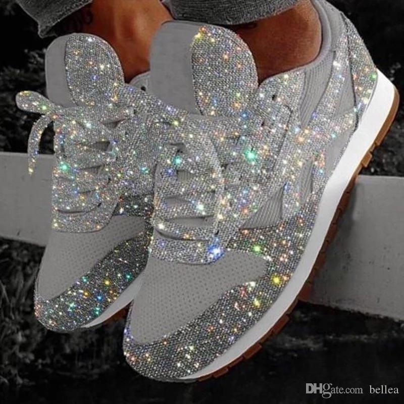 Frauen Bling Schuhe 2019 Herbst New beiläufige flache Damen Schuhe Vulkanisierte Beathable Lace Up Outdoor-Schuh-freies Verschiffen