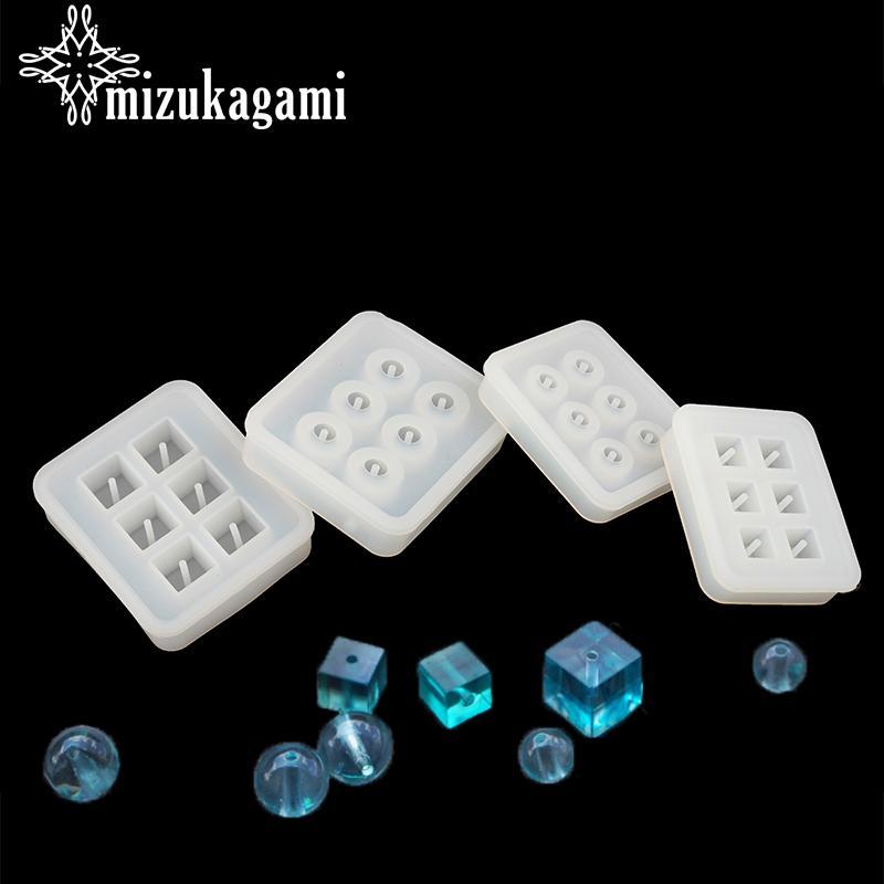 UV joyería de resina líquida molde de silicona forma cuadrada forma redonda perlas moldes de resina para la fabricación de bricolaje joyería