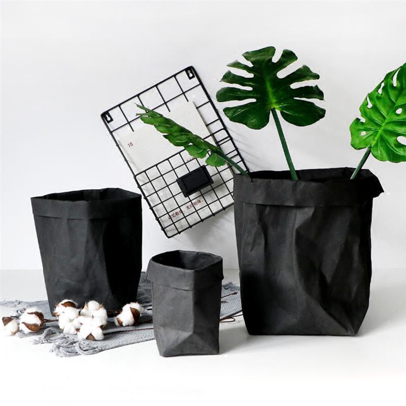 Washable Kraft Paper Storage Container Decorative Reusable Paper Bag Organizer Flowerpot Cover Toy Home Decoration A35