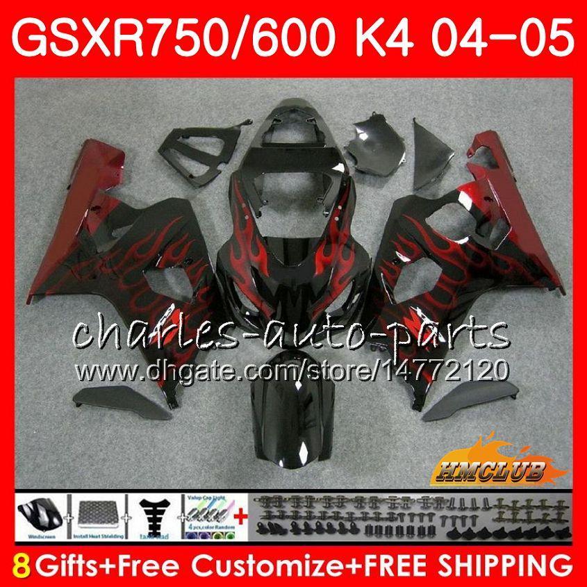 Bodys Rode Vlammen Heet voor Suzuki GSXR 750 GSX R600 R750 GSXR600 2004 2005 7HC.18 GSXR 600 GSXR-750 04 05 GSX-R600 K4 GSXR750 04 05 Valerijen