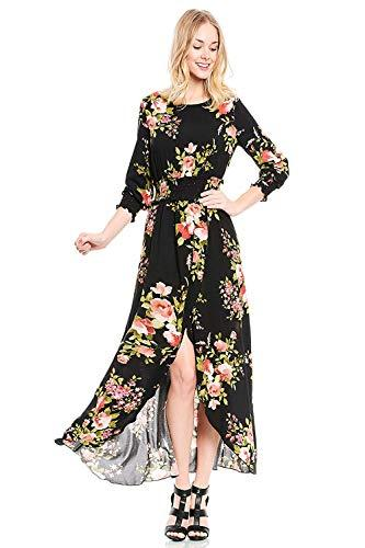 Wirklich ich, Frauen wunderschöne Split Floral Print Flowy Faux Wrap Boho Maxi-Kleid
