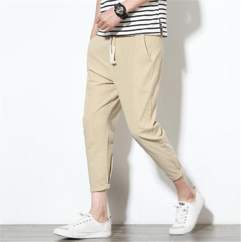 Pantaloni casual da uomo di colore solido allentato Mens di stile più i pantaloni con coulisse Dimensioni Adolescente Sport Harem