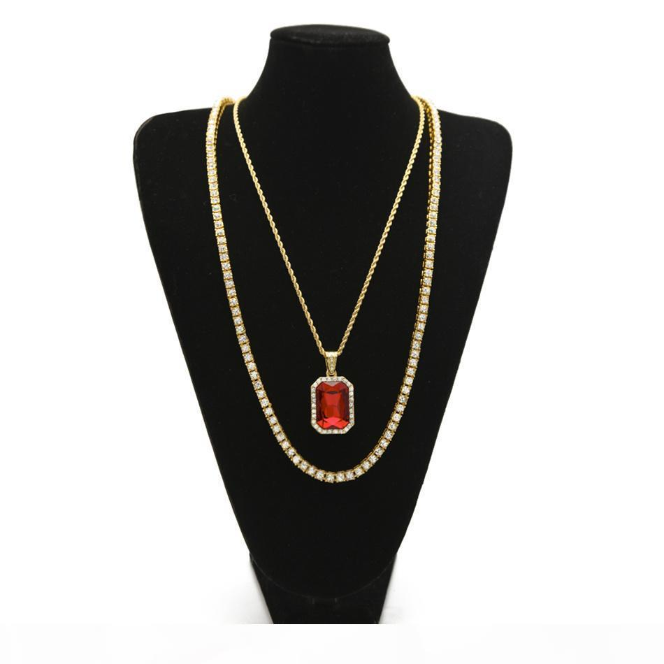Men Hip hop Necklaces Set lced Out Rhinestone Chain With Square Red Blue Crystal Pendant Necklaces Jewelry Set