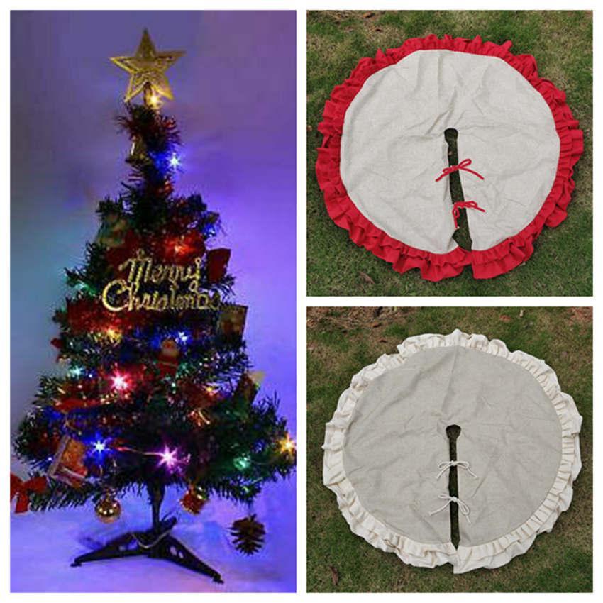 120cm Yılbaşı Ağacı Etek Dekorasyon Süsleme Dantel Kırışıklık Tuval Keten çuval bezi Noel Ev Dekorasyonu 2 Renkler ZZA1460