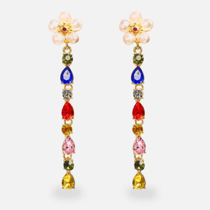 Folk-custom Retro Fashion Accessories Jewelry Bright Baroque Gem Rhinestones Pearl Flower Pendant Charm Water Drop Dangle Earrings For Women