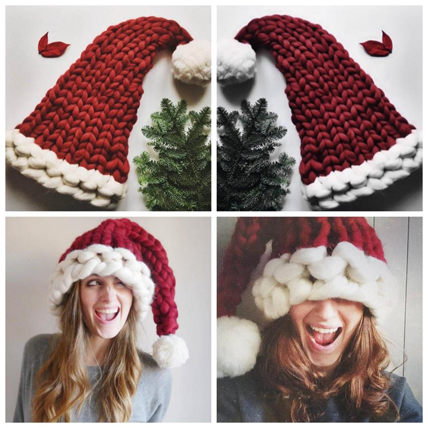 Natal pai-filho de malha chapéu morno Outono Inverno tricô chapéus da Crochet Caps Skullies Gorros Família Crochet Cap LJJZ830